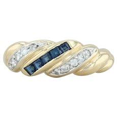 .49ctw Blue Sapphire & Diamond Ring - 18k Yellow Gold Size 9 Scalloped