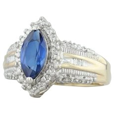 1.10ctw Synthetic Blue Sapphire & Diamond Halo Ring - 10k Gold Size 7.25