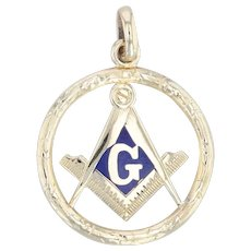 Masonic Charm - 10k Yellow Gold Blue Lodge Square Compass Fob Pendant