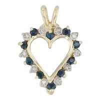 .41ctw Blue Sapphire & Diamond Heart Pendant - 14k Yellow Gold Gemstone Halo