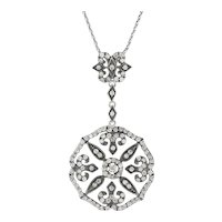 ".73ctw Diamond Flower Pendant Necklace - 14k White Gold 17"" Gothic Floral"