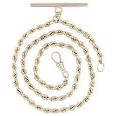 """Pocket Watch Fob Rope Chain - 14k Yellow Gold 15"""" Vintage 16.5"""""""