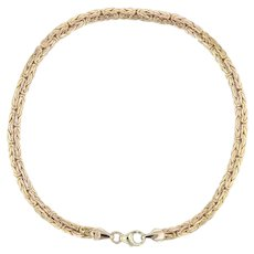 """Byzantine Chain Bracelet - 14k Yellow Gold 8.75"""" 4mm Milor Italy Lobster Clasp"""