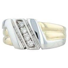 Men's .20ctw Diamond Ring - 10k Yellow & White Gold Size 10 Wedding Band