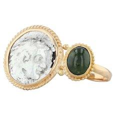 Antique Greek Drachm Coin & Green Tourmaline Ring - 18k Gold Size 8 Appraisal