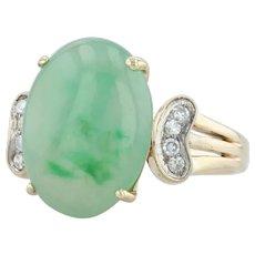 Green Jadeite Jade & Diamond Ring - 14k Yellow Gold Size 8.25