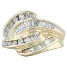 .75ctw Diamond Cocktail Ring - 14k Gold Size 4.75 Woven Knot Round Baguette