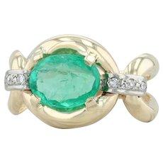 1.25ctw Emerald & Diamond Ring - 14k Yellow White Gold Size 7.25 May Birthstone