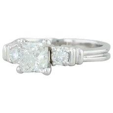 .80ctw Diamond Engagement Ring- Platinum Sz 5.5 Princess Solitaire Round Accents