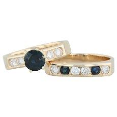 2.21ctw Diamond & Sapphire Engagement Ring Wedding Band Set - 14k Gold Size 6.25