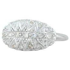 Vintage .22ctw Diamond Cluster Ring - 14k White Gold Size 6
