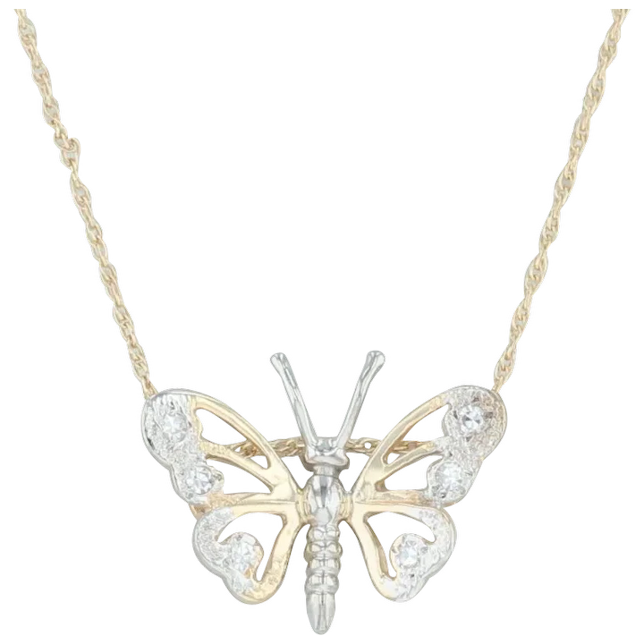62440b96a19f5 Diamond Butterfly Pendant Necklace - 14k Yellow & White Gold 16