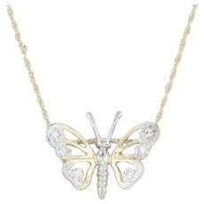 """Diamond Butterfly Pendant Necklace - 14k Yellow & White Gold 16"""" 1mm Rope Chain"""