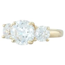 3-Stone CZ Engagement Ring - 14k Yellow Gold Size 5 Round Cubic Zirconias