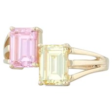 Pink & Yellow CZ Ring - 14k Yellow Gold Size 6 Cubic Zirconias