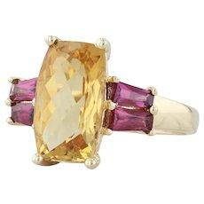 3.60ctw Citrine & Garnet Ring - 14k Yellow Gold Size 6-6.25 Cocktail