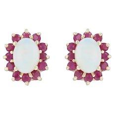 Opal & Ruby Halo Earrings - 14k Yellow Gold Pierced Studs