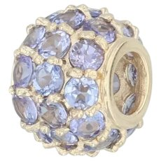 3.25ctw Tanzanite Charm - 14k Yellow Gold Gemstone Bead