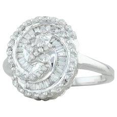 .30ctw Diamond Swirl Ring - 14k White Gold Size 6.25 Cocktail Cluster