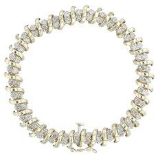 "3ctw Diamond Tennis Bracelet - 10k Yellow Gold 7"" 7.8mm S-Link"