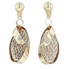 Abstract Dangle Earrings - 14k Yellow Gold Sterling Silver Pierced Drop