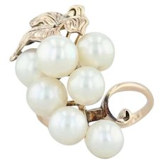 Cultured Pearl Cluster Grape Bunch Ring - 14k Yellow Gold Size 6 Cocktail
