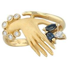 Carrera Y Carrera .37ctw Sapphire & Diamond Hand Ring - 18k Gold Size 6.25