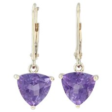 2.70ctw Amethyst Drop Earrings - 14k Yellow Gold Gemstone Solitaire Trillion