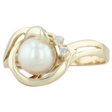 Cultured Pearl & Diamond Wrap Ring - 14k Yellow Gold Size 6 June Birthstone