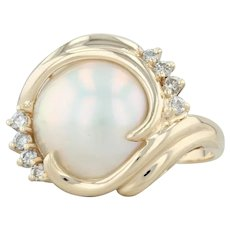 Mabe Pearl & Diamond Ring - 14k Yellow Gold Size 8.25 Cocktail