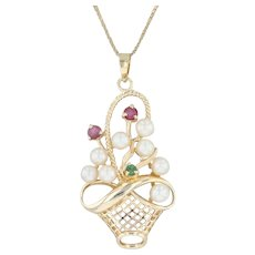 """Cultured Pearl Ruby Emerald Flower Basket Pendant Necklace - 14k Yellow Gold 16"""""""