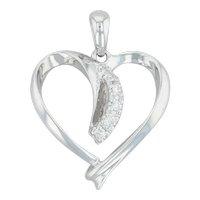 Diamond Heart Pendant - 14k White Gold Open Heart