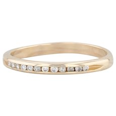 Diamond Wedding Band - 14k Yellow Gold Size 7 Ring Channel Set Stackable