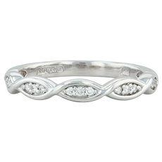 Diamond Band - 14k White Gold Size 6 Women's Stackable Wedding