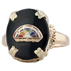 Onyx Rainbow Girls Ring- 10k Yellow Gold Size 7.5 Masonic Signet Floral Filigree