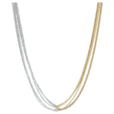 "2-Toned Beaded Multi-Strand Necklace - 14k Yellow & White Gold 17"" Lobster Clasp"