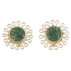 Green Nephrite Jade Flower Earrings - 14k Yellow Gold Studs Solitaire