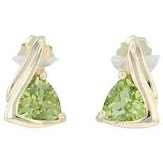 .84ctw Peridot Stud Earrings - 14k Yellow Gold Round Solitaire August Birthstone