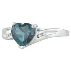 1.62ctw Synthetic Alexandrite Heart & Diamond Ring - 10k White Gold Size 7