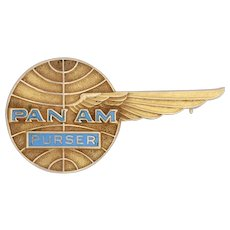 Pan Am Purser Pin - 10k Yellow Gold Winged Globe Badge Vintage Airline