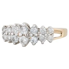 Tiered .70ctw Diamond Cluster Ring - 14k Yellow Gold Size 8.75 Anniversary Band