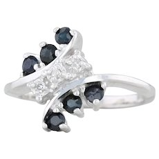 .33ctw Blue Sapphire & Diamond Bypass Ring - 10k White Gold Size 3.75 Women's