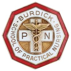 Burdick School Practical Nursing Pin - 10k Gold Caduceus Cross Medical Pin