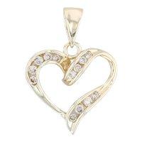 .20ctw Diamond Open Heart Pendant - 10k Yellow Gold Drop Round Brilliant