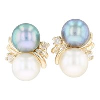Cultured White & Black Pearl & Diamond Earrings - 14k Yellow Gold Pierced Drop