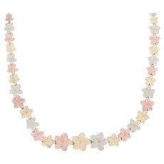 "Plumeria Flower Chain Necklace - 14k White Yellow Rose Gold 17.5"" Hawaiian Lei"