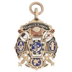 Masonic York Rite Cross Fob - 14k Gold Diamond Symbolic Gothic Lodge 1921