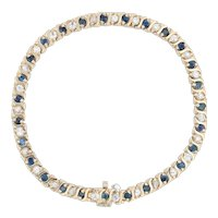 "5.25ctw Blue Sapphire White Zircon Tennis Bracelet - 14k Yellow Gold 7.25"" 4.4mm"
