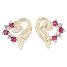 .22ctw Ruby & Diamond Heart Earrings - 14k Yellow Gold Studs July Red Gemstone