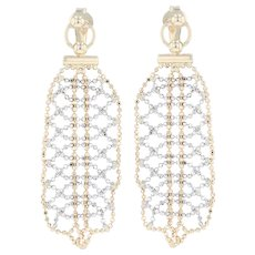 Bead Mesh Dangle Earrings - 14k Yellow & White Gold Pierced Statement